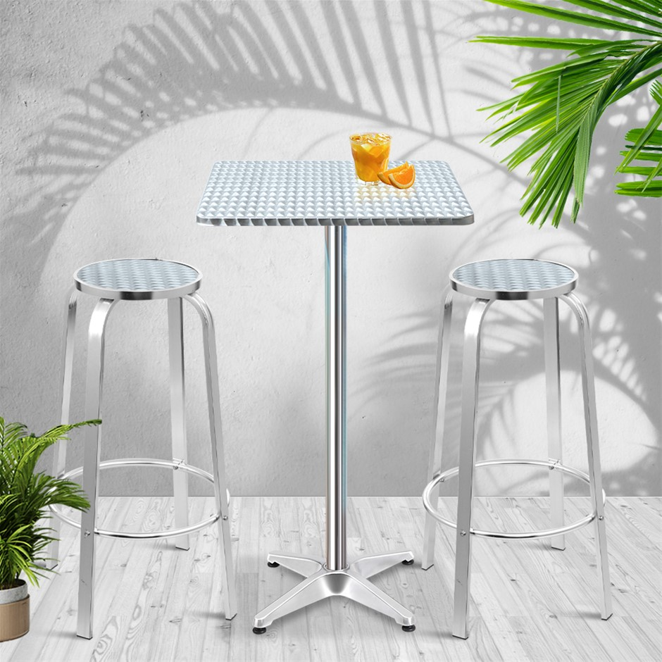 Gardeon Outdoor Bistro Set Bar Table Stools Adjustable Aluminium Cafe 3PC