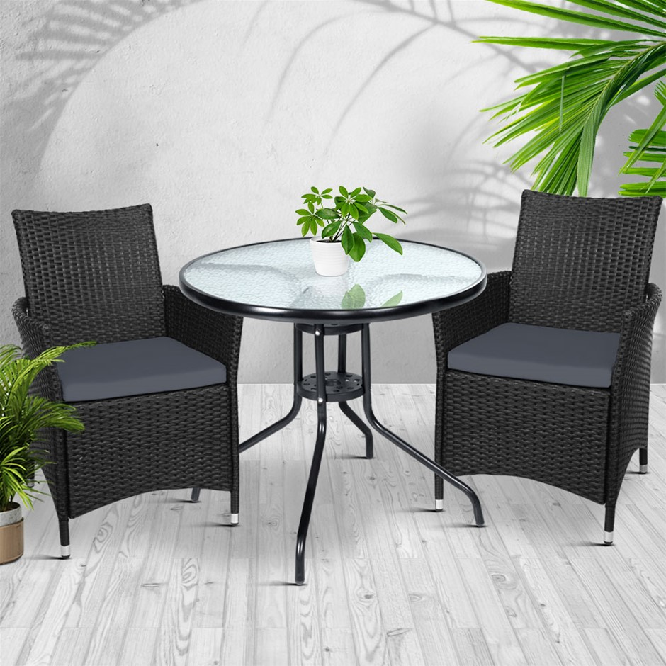 Gardeon Outdoor Furniture Dining Chair Table Bistro Set Wicker