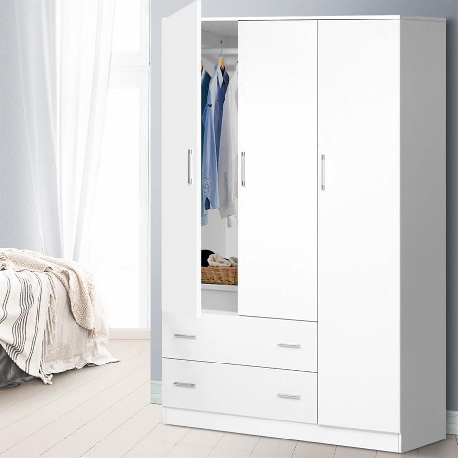 Artiss 3 Doors Wardrobe Bedroom Closet Storage Cabinet Organiser Armoire