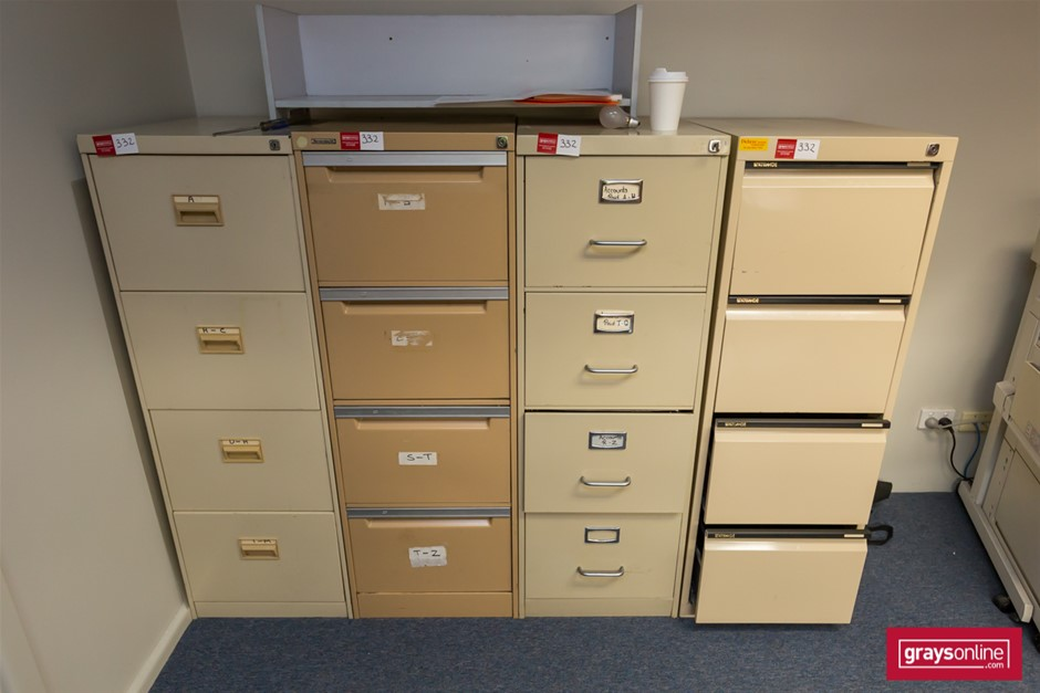 4x 4 Drawer Filing Cabinets