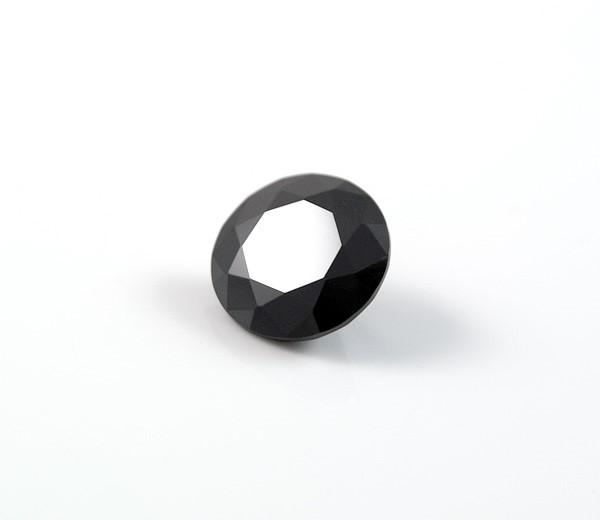 1.02ct Round brilliant cut natural black diamond