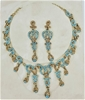 Gold Tone Aqua & Gold Crystal Necklace/Earring Set.