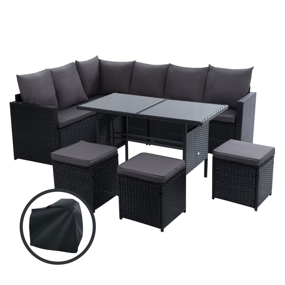 Gardeon Outdoor Furniture Dining Setting Sofa Set Wicker 9 Seater Storage