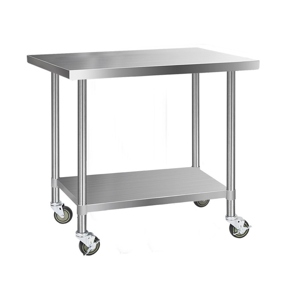 Cefito 1219x760mm Commercial Stainless Steel Bench Prep Table w/ wheels