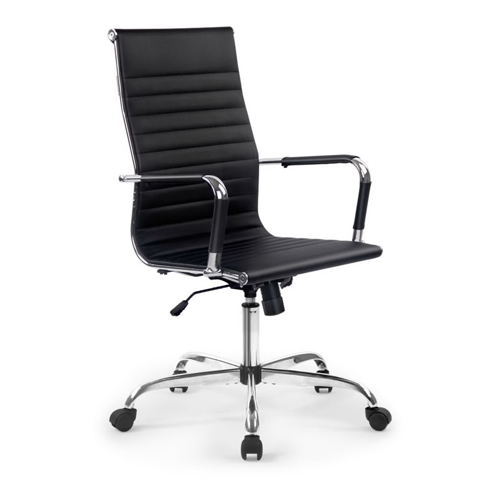 Artiss Eames Replica Premium PU Leather Office Chair Computer Seat Black