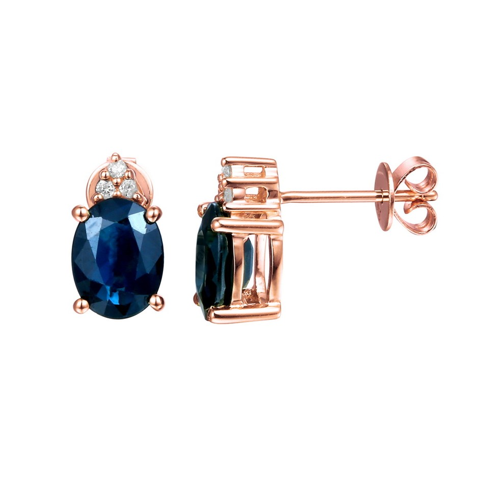 9ct Rose Gold, 3.28ct Blue Sapphire and Diamond Earring