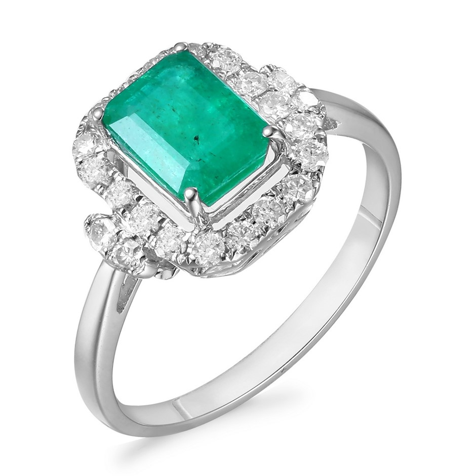 18ct White Gold, 1.56ct Emerald and Diamond Ring