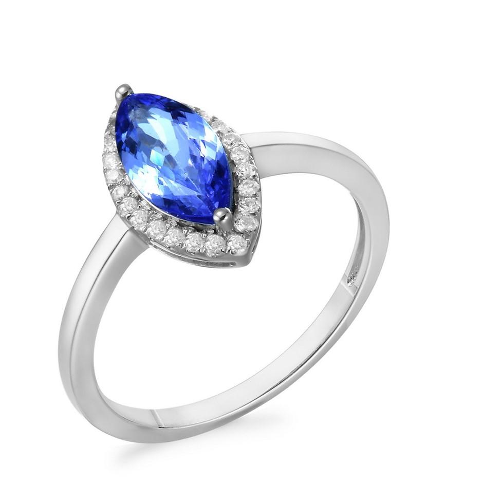 9ct White Gold, 1.17ct Tanzanite and Diamond Ring