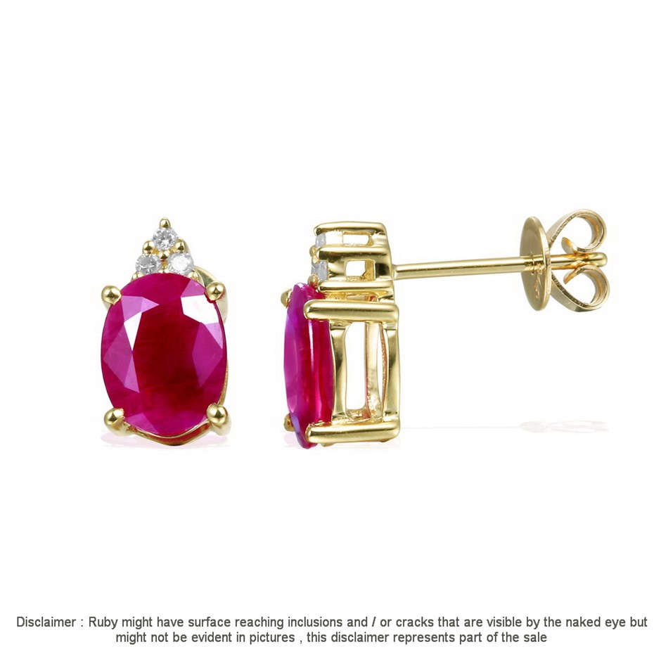 9ct Yellow Gold, 3.06ct Ruby and Diamond Earring