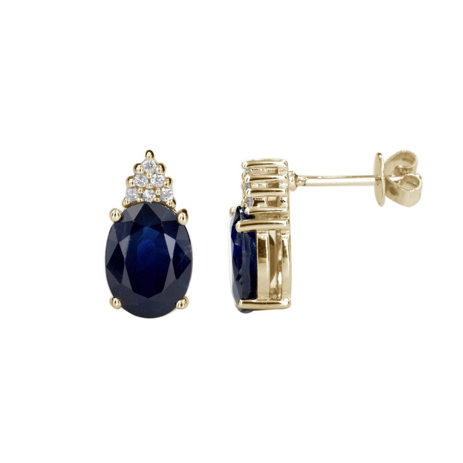 9ct Yellow Gold, 4.49ct Blue Sapphire and Diamond Earring