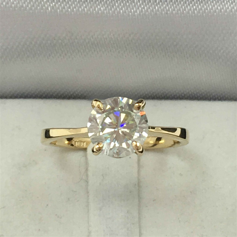 18ct Yellow Gold, 2.0ct Moissanite Engagement Ring