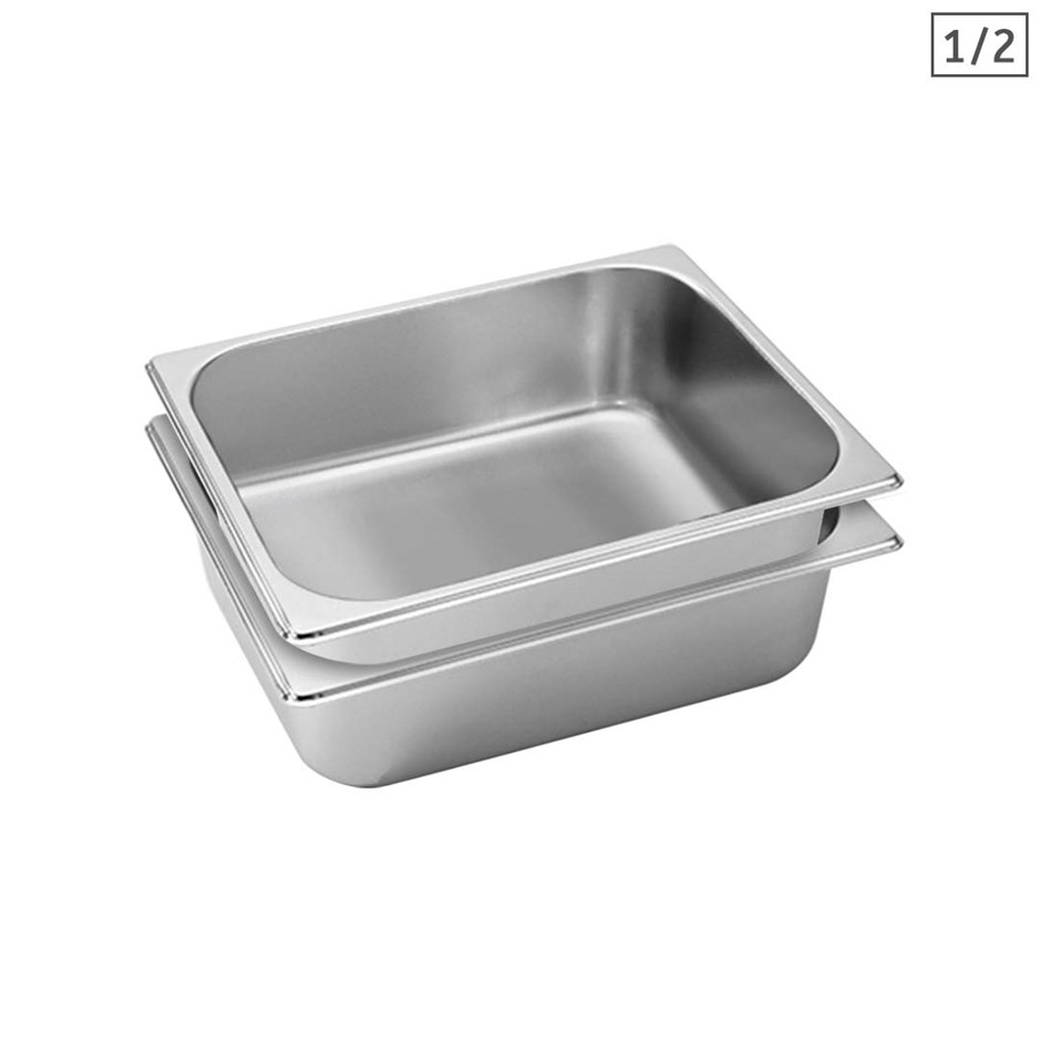 SOGA 2X Gastronorm GN Pan Full Size 1/2 GN Pan 10cm Stainless Steel Tray