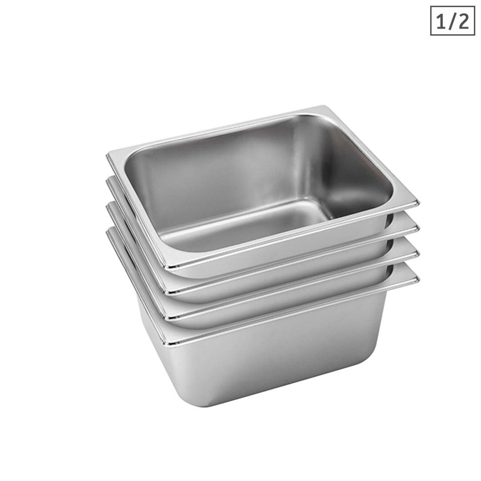 SOGA 4X Gastronorm GN Pan Full Size 1/2 GN Pan 15cm Stainless Steel Tray