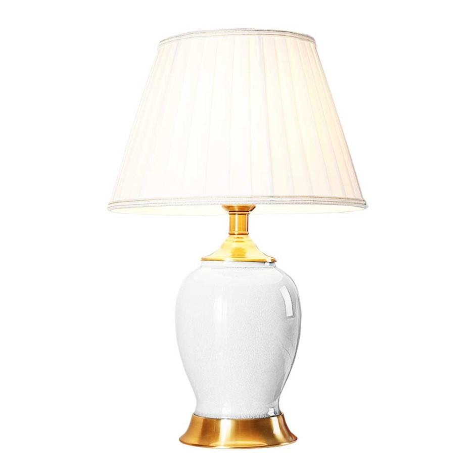 SOGA Ceramic Oval Table Lamp with Gold Metal Base Desk Lamp White