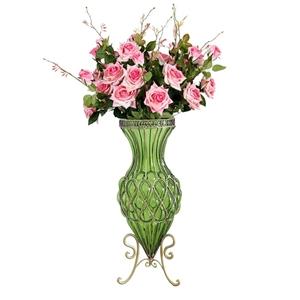 SOGA 67cm Green Glass Floor Vase and 12p