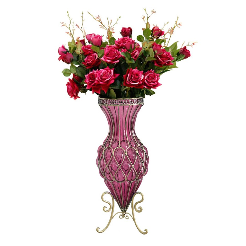 SOGA 67cm Purple Glass Floor Vase and 12pcs Red Artificial Fake Flower Set