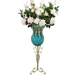 SOGA 85cm Blue Glass Floor Vase and 12pc