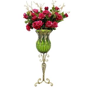 SOGA 85cm Green Glass Floor Vase and 12p