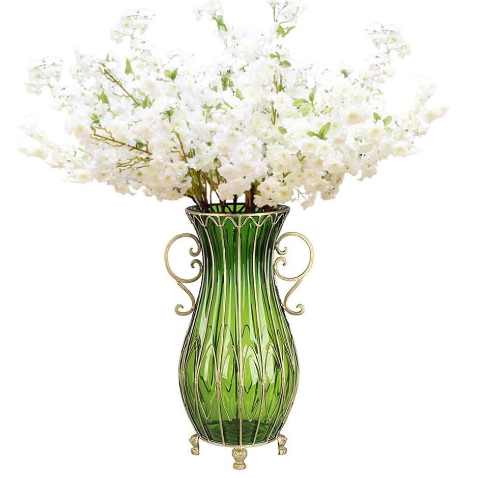SOGA 51cm Blue Glass Floor Vase and 10pcs White Artificial Fake Flower Set