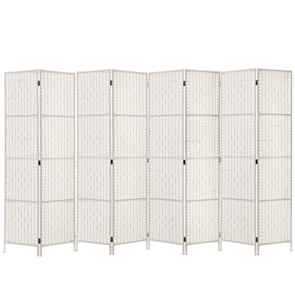 Artiss 8 Panels Room Divider Screen Privacy Rattan Timber Fold Woven White