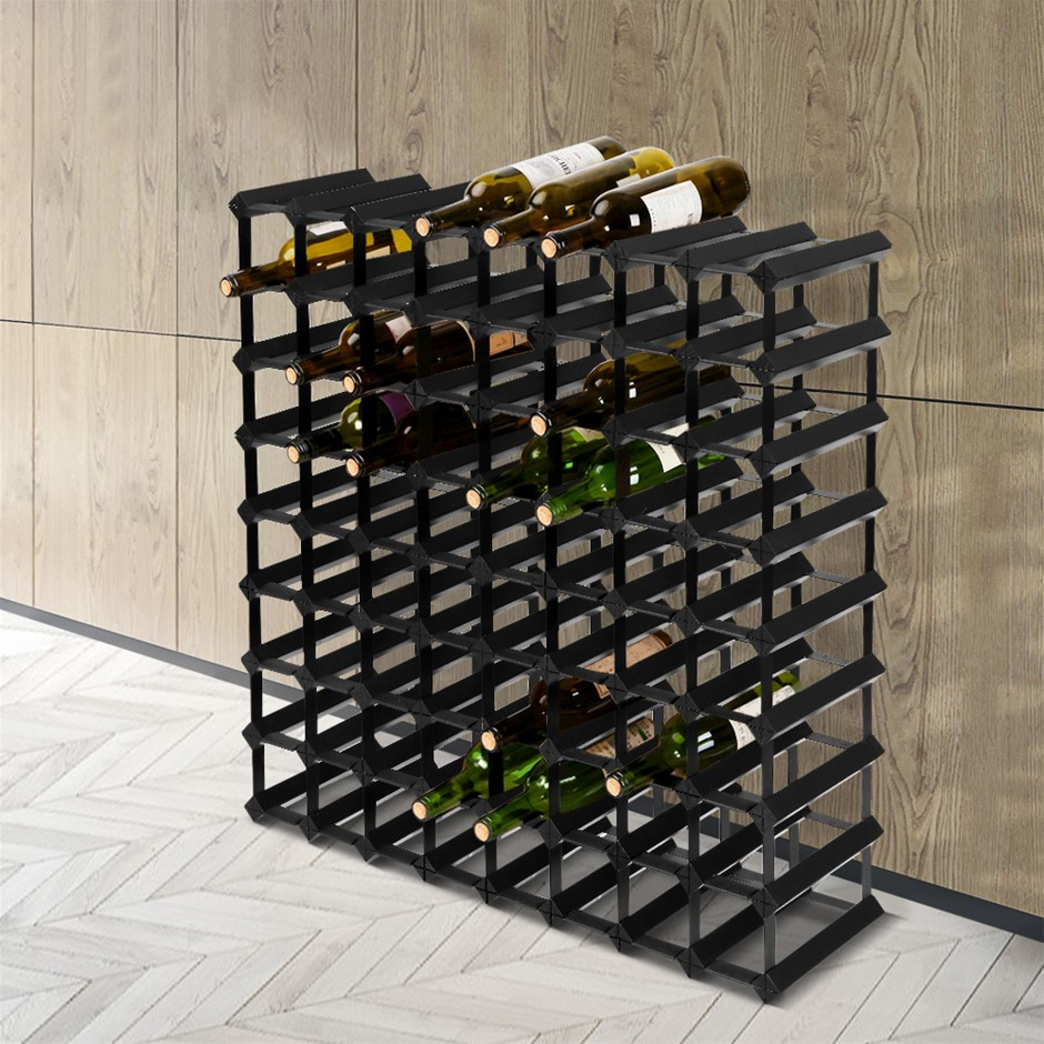 Artiss 72 Bottle Timber Wine Rack Wooden Storage Wall Racks Cellar Black