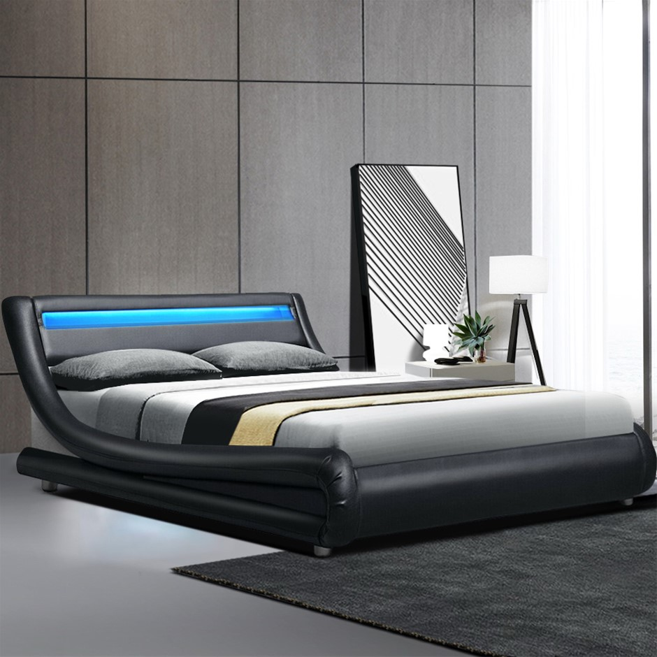Artiss LED Bed Frame King Mattress Base Platform Black Leather Wooden