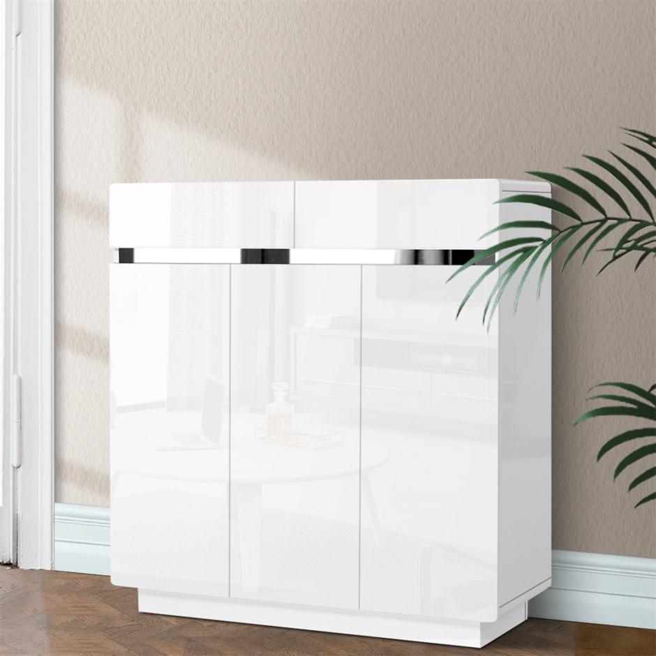 Artiss Shoe Cabinet Storage Rack High Gloss Organiser Drawer Cupboard Door