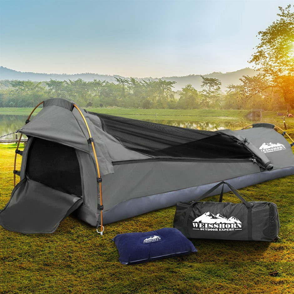 Weisshorn Biker Swag Camping Single Swags Tent Deluxe Ripstop Canvas Grey