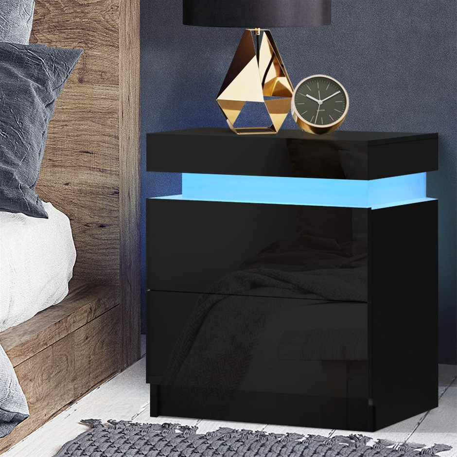 Artiss Bedside Tables Side Table RGB LED High Gloss Nightstand Black