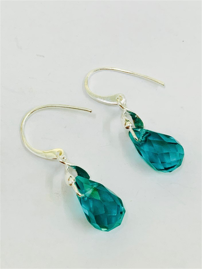 Sterling Silver bead drop earrings.