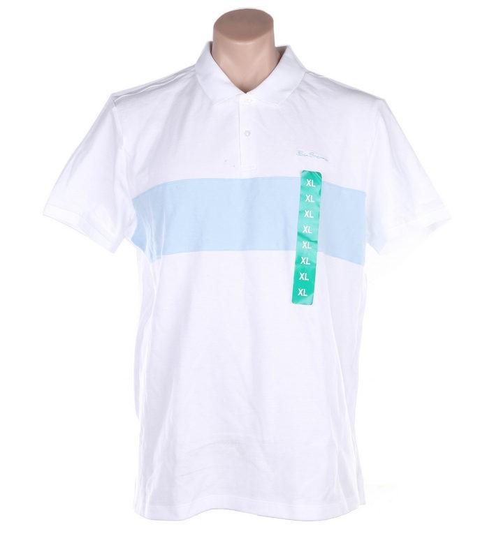BEN SHERMAN Men`s Cotton Polo Shirt, Size L, White w/ Light Blue. (SN:CC496