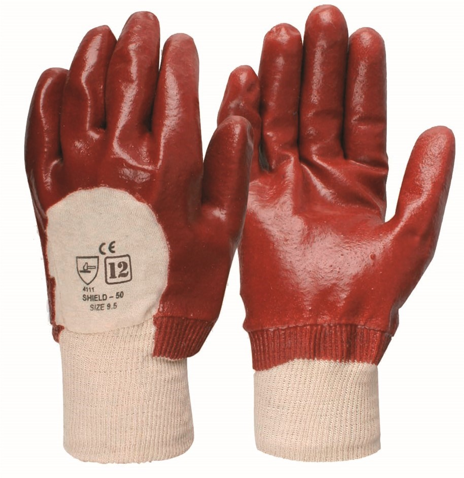 12 x Pairs General Purpose PVC Dipped Gloves Size L. Buyers Note - Discount
