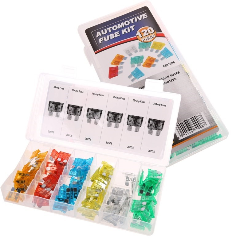 120pc Automotive Fuse Assortment Kit, Contents as per Image. Buyers Note -