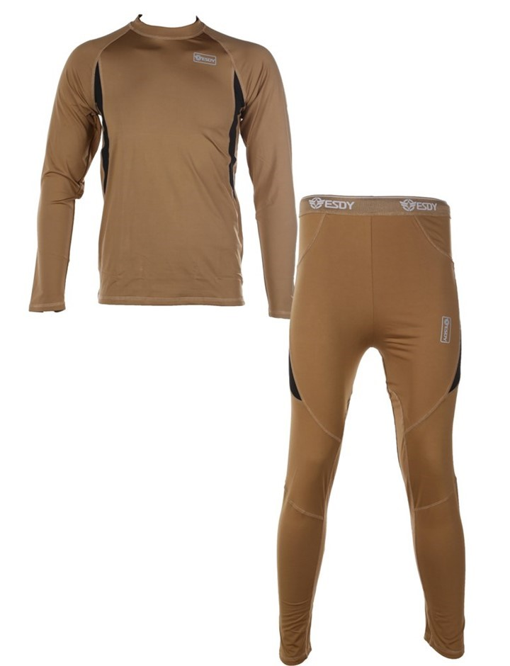 Thermal Military Underwear Top & Bottom Compression Style, Size M, Brown. B