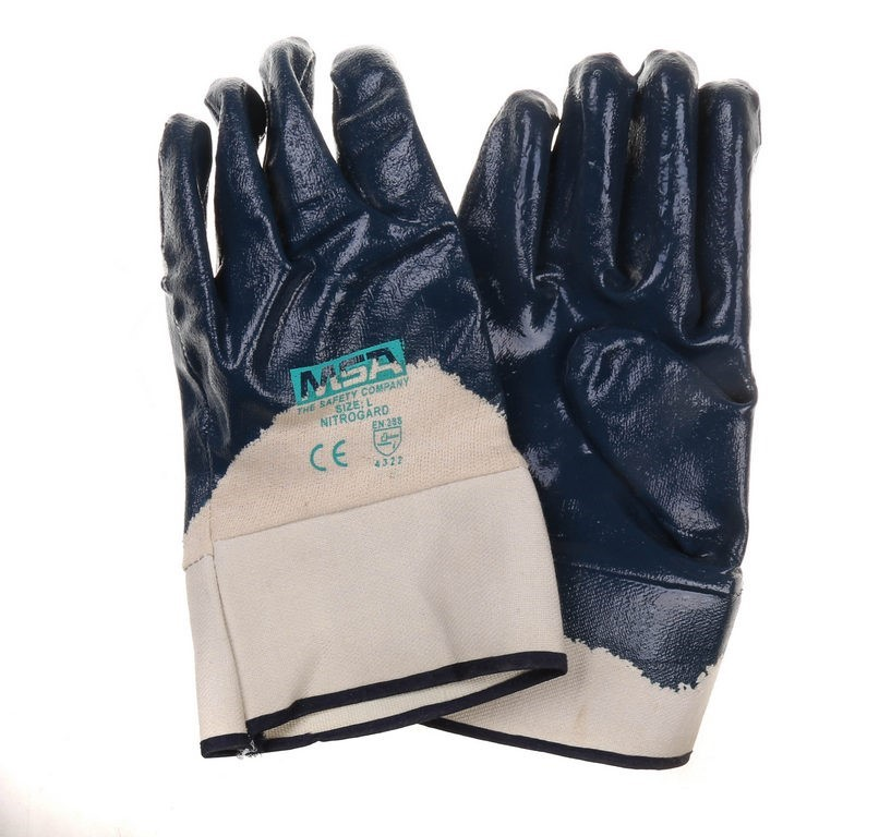 12 x MSA Heavy Duty Nitrile Palm Coated Work Gloves, Size L/XL, Cotton Lini