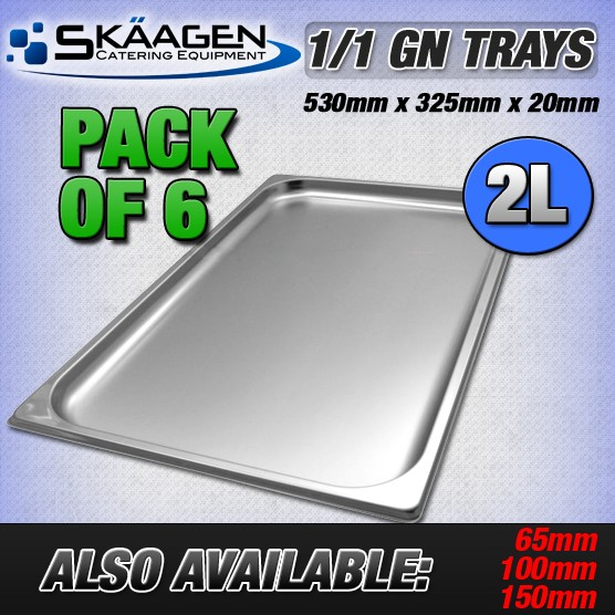 Unused 1/1 Gastronorm Trays 20mm - 6 Pack