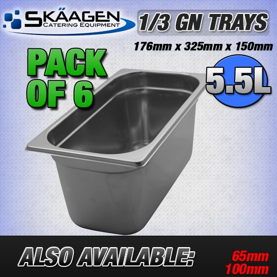 Unused 1/3 Gastronorm Trays 150mm - 6 Pack
