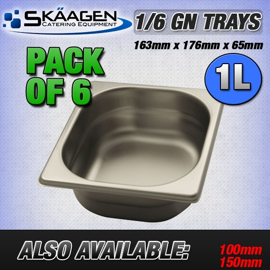 Unused 1/6 Gastronorm Trays 65mm - 6 Pack