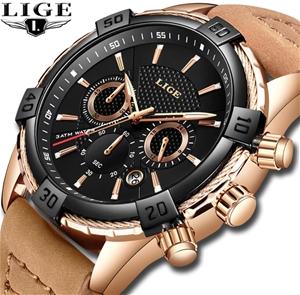 LIGE Men Fashion Leather & Sport Quartz
