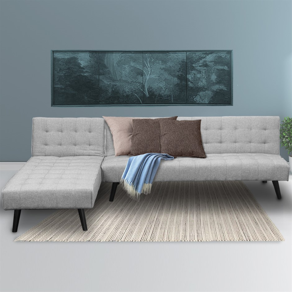 Corner Sofa Linen Lounge Chaise Couch L-shaped Modular Furniture Light Grey