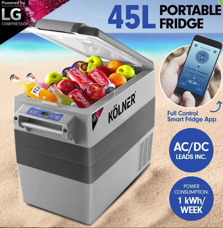 Kolner 45L Portable Fridge Freezer Cooler 12/24/240V Camping LG Compressor