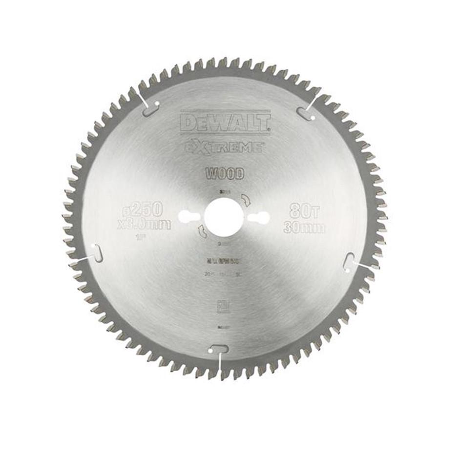 DeWALT Extreme Mitre Saw Blade 250 x 30mm x 80 Teeth (SN:DT4287-QZ) (268725