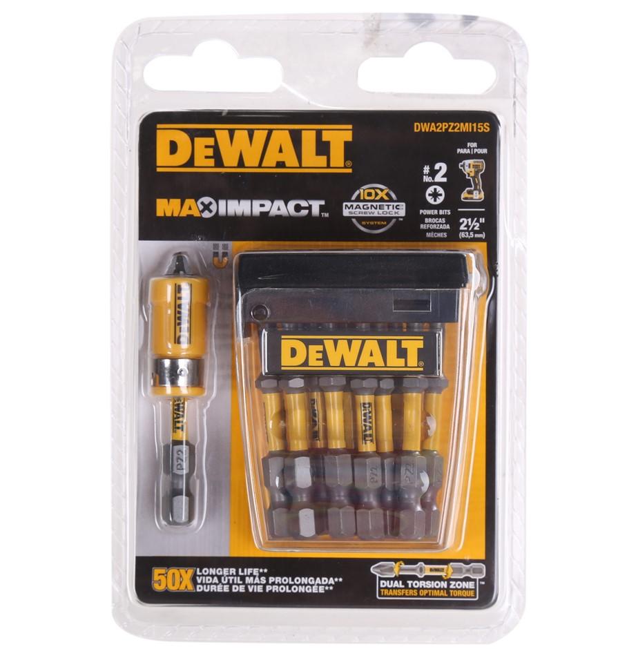 5 x DeWALT 15pk Max Impact PZ2 Power Bits 63.5mm c/w Magnetic Screw Lock Ad