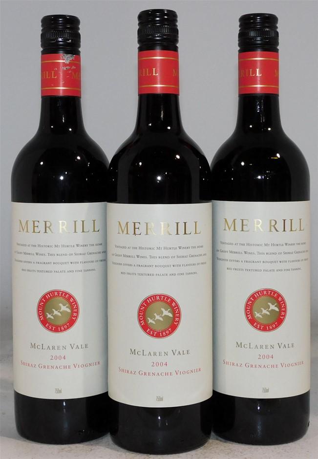 Merrill Shiraz Grenache Viognier 2004 (3x 750mL), SA. Screwcap.