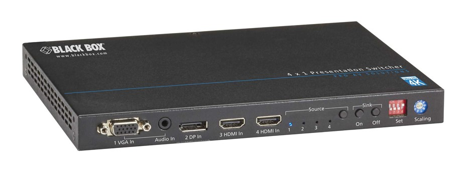 BLACK BOX Presentation Switcher - 4K, HDMI, DisplayPort, VGA, HDBaseT, 4x1