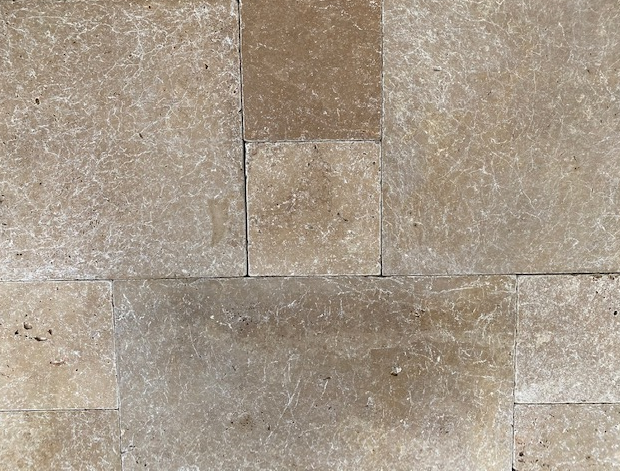 1xCrate Noce Travertine Tiles unfilled & tumbled pattern 12mm Approx23.71m2