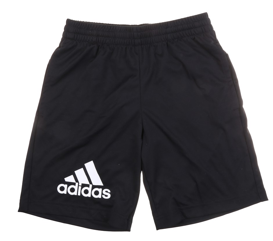 ADIDAS Boy`s Shorts, Size 9-10y.o, 100% Polyester, Black Buyers Note - Disc