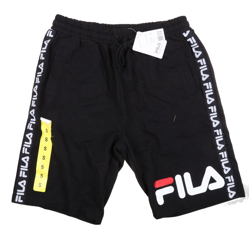FILA Men`s Chris Tape Shorts, Size S, Cotton/Polyester, Black. Buyers Note