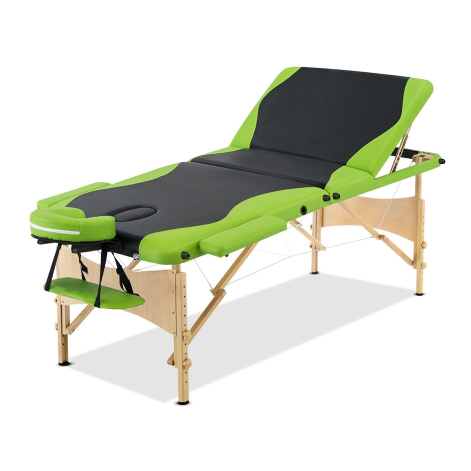 Zenses Massage Table Wooden Portable 3 Fold 70CM Beauty Therapy Bed Green