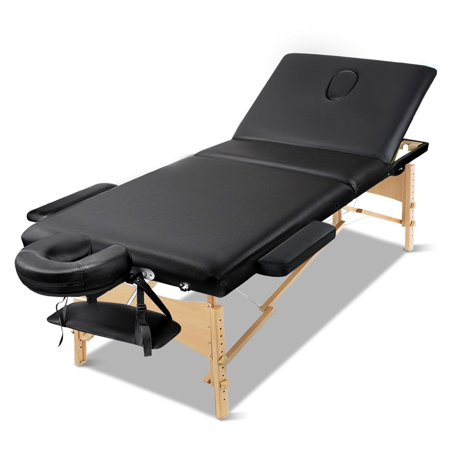 Zenses Massage Table Wooden Portable 3 Fold Beauty Therapy Bed 60CM BLACK